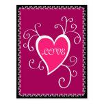 Diseño rosado del corazón - postal