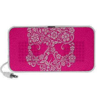 Diseño rosado del cráneo de las flores y de las vi altavoces de viaje