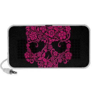 Diseño rosado del cráneo de las flores y de las vi laptop altavoces