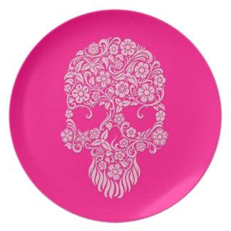 Diseño rosado del cráneo de las flores y de las vi platos para fiestas