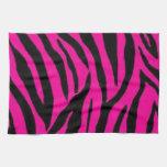 Diseño rosado del estampado de zebra toalla de cocina