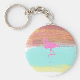 Diseño rosado del estilo de la playa del llavero redondo tipo pin