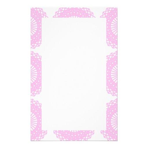 Diseño rosado del estilo del cordón papeleria