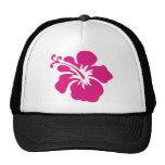Diseño rosado del hibisco gorras de camionero