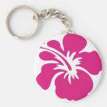 Diseño rosado del hibisco llaveros personalizados