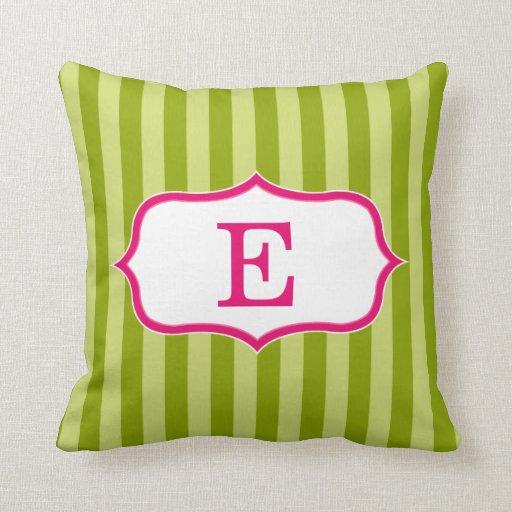Diseño rosado del monograma de las rayas del verde cojines