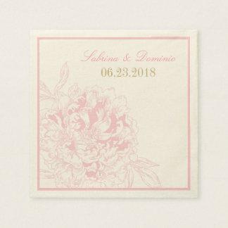 Diseño rosado del Peony de las servilletas el | Servilletas De Papel