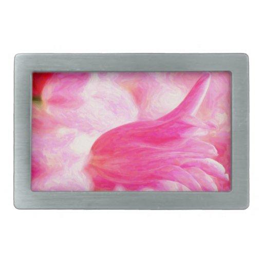 Diseño rosado del tulipán hebilla cinturon rectangular