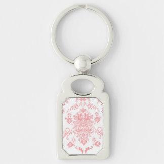 Diseño rosado delicado del damasco llavero plateado rectangular