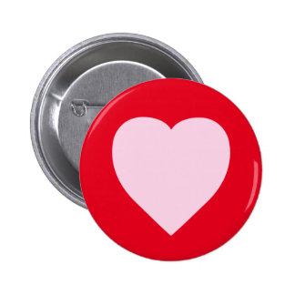 Diseño rosado hermoso del corazón pin redondo de 2 pulgadas