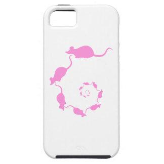 Diseño rosado lindo del ratón. Espiral de ratones iPhone 5 Carcasa