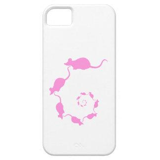 Diseño rosado lindo del ratón. Espiral de ratones iPhone 5 Fundas