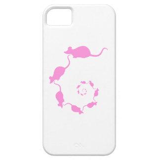 Diseño rosado lindo del ratón. Espiral de ratones iPhone 5 Carcasas