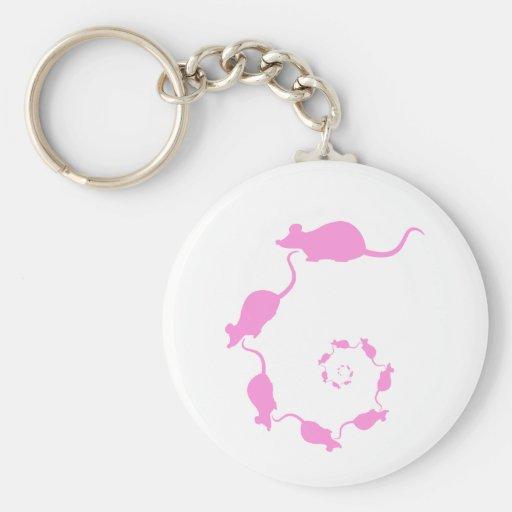 Diseño rosado lindo del ratón. Espiral de ratones Llavero