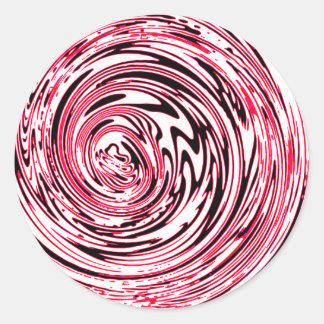 Diseño rosado loco del remolino pegatina redonda