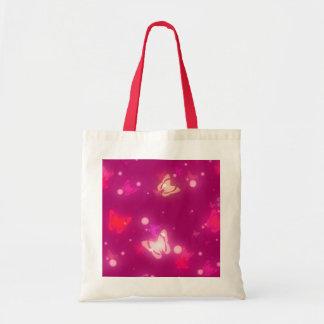Diseño rosado magenta de las mariposas ligeras del bolsa