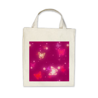 Diseño rosado magenta de las mariposas ligeras del bolsa de mano