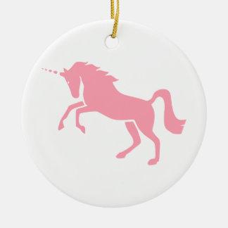 Diseño rosado mitológico griego del unicornio ornamento para arbol de navidad