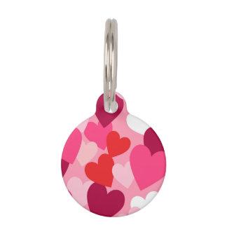 Diseño rosado, púrpura y blanco de los corazones placas de mascota