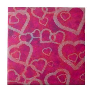 Diseño rosado romántico del corazón azulejo cuadrado pequeño