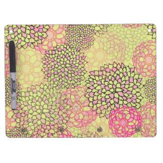 Diseño rosado y amarillo de la explosión de la pizarra blanca