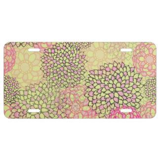Diseño rosado y amarillo de la explosión de la placa de matrícula