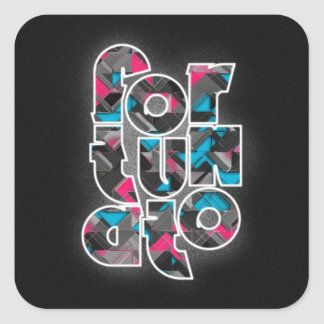 Diseño rosado y azul de Fortunato Calcomania Cuadradas Personalizada