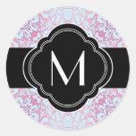 Diseño rosado y azul del damasco pegatina redonda
