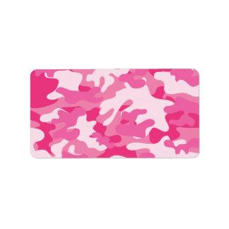 Diseño rosado y blanco de Camo Etiquetas De Dirección