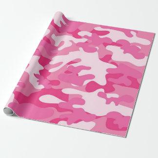 Diseño rosado y blanco de Camo Papel De Regalo