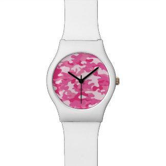 Diseño rosado y blanco de Camo Reloj De Mano