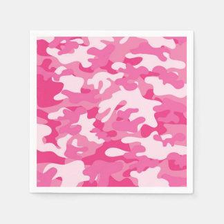 Diseño rosado y blanco de Camo Servilletas Desechables