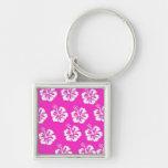 Diseño rosado y blanco del hibisco llaveros