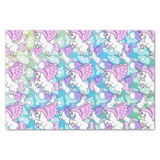 Diseño rosado y blanco del modelo del unicornio papel de seda pequeño