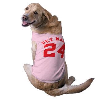 Diseño rosado y del rojo de los mascotas el | de playera sin mangas para perro
