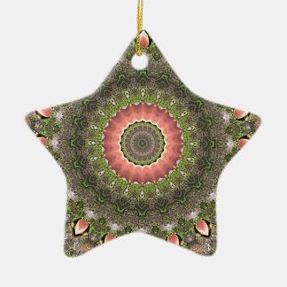 Diseño rosado y verde de la mandala adorno de cerámica en forma de estrella