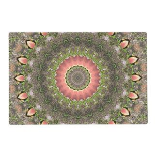 Diseño rosado y verde de la mandala tapete individual