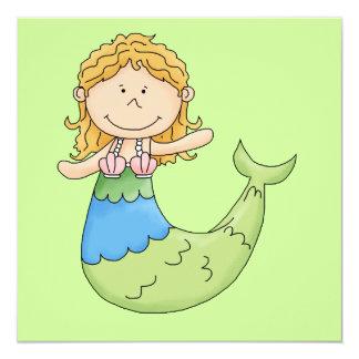 """Diseño rubio lindo de los pescados del chica de la invitación 5.25"""" x 5.25"""""""