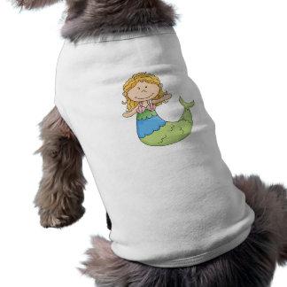 Diseño rubio lindo de los pescados del chica de la playera sin mangas para perro