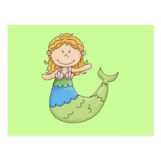 Diseño rubio lindo de los pescados del chica de la postales