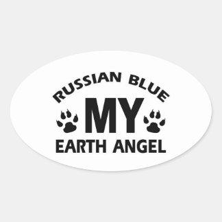 diseño ruso del gato azul pegatina ovalada