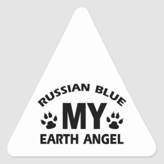 diseño ruso del gato azul pegatina triangular