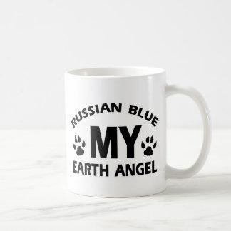 diseño ruso del gato azul taza básica blanca