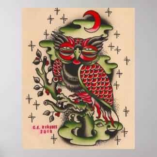 Diseño ruso del tatuaje del búho póster