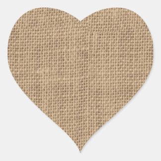 Diseño rústico de la arpillera pegatina en forma de corazón