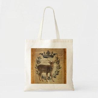 Diseño rústico de los ciervos de la cola blanca bolsa tela barata