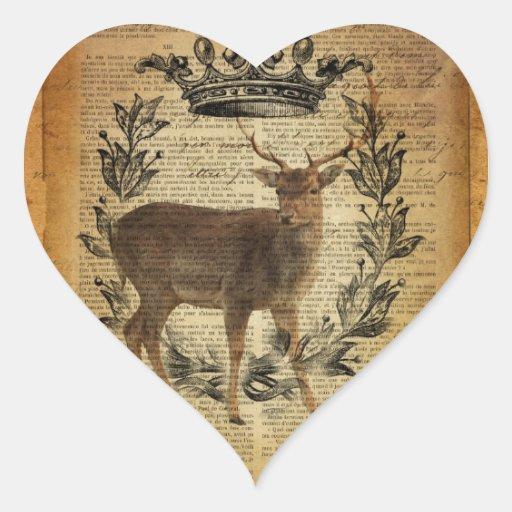 Diseño rústico de los ciervos de la cola blanca pegatinas corazon
