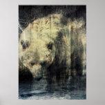 Diseño rústico del oso grizzly posters