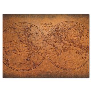 Diseño rústico del vintage clásico del mapa de papel de seda grande