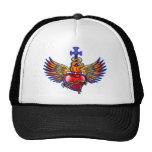 Diseño sagrado de las alas del ángel del corazón gorra